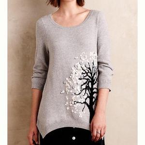 Anthropologie HWR Monogram Button Tree Sweater